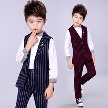 儿童礼服马甲套装长款男童条纹两件套男宝宝秋季韩版童装