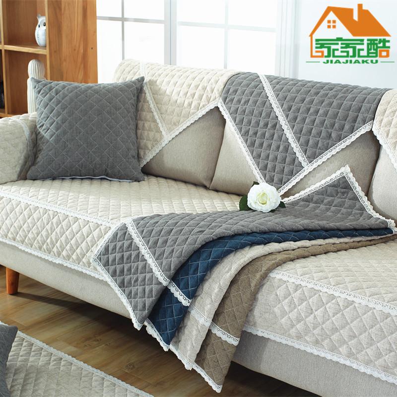 新款亚麻纯色绗缝简约布艺沙发垫坐垫防滑沙发套定做厂家一件代发