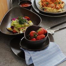 日式陶瓷餐具 三角盘西餐 米饭碗汤盘 异形水果盘酒店餐具