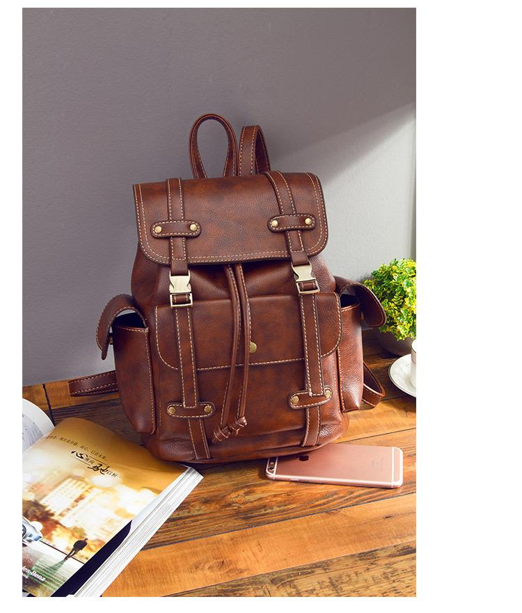 Korean version PUShoulder bag (Retro brown)NHPB0352-Retro brown