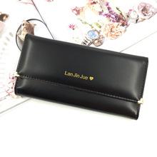 爆款韩版时尚简约甜美淑女爱心铆钉长款三折钱包女士大钞钱皮夹子
