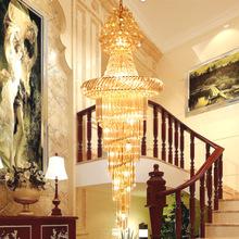 复式楼梯水晶灯 别墅工程客厅吊灯圆形旋转创意灯具厂家批发价格