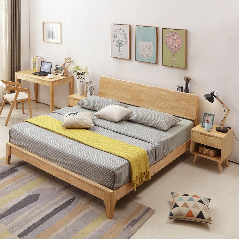 厂家批发实木床1.5米1.8米成人双人床北欧风格卧室套房原木家具