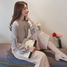 2017春装新款女装韩版气质雪纺两件套夏季名媛阔腿裤套装女时尚潮