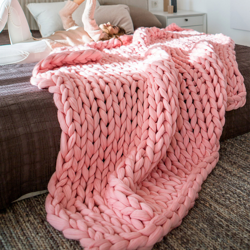 soft comfy solid hand chunky knit blanket thick yarn wool bulky bed spread throw ebay. Black Bedroom Furniture Sets. Home Design Ideas