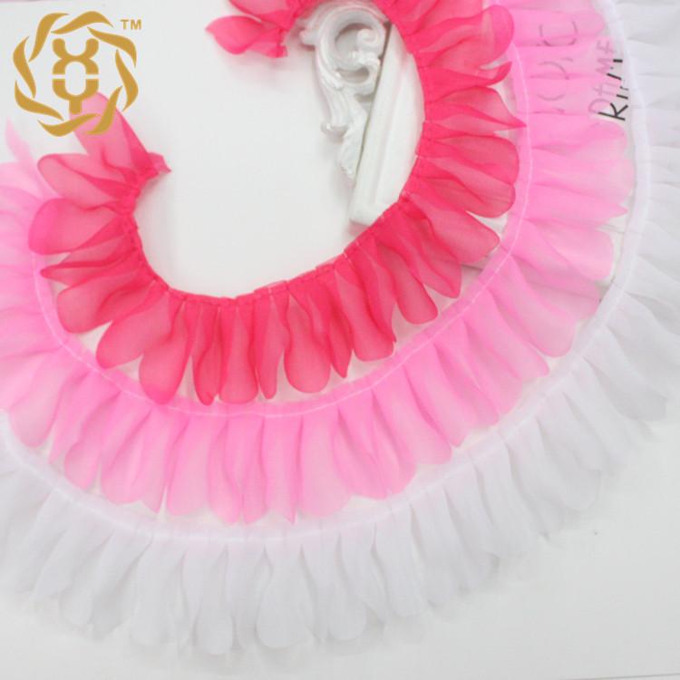 现货4.5cm压花素色雪纺玩具褶皱裙子迷糊娃服装饰品装饰打折花边