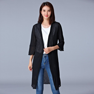 Cardigan three-quarter sleeves casual long coat stretch knit four seasons slim coat large size women's thin section