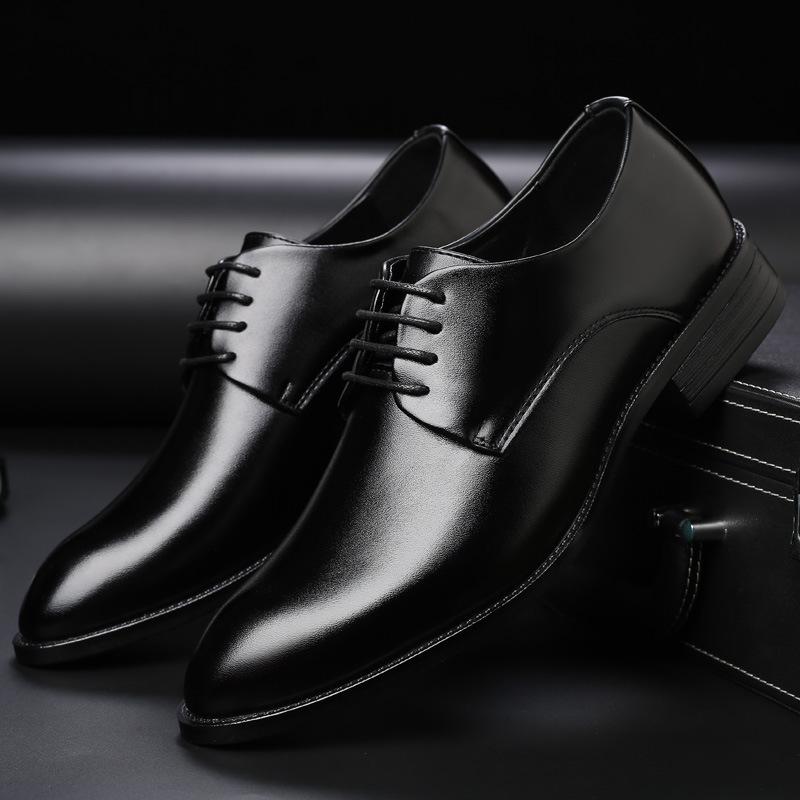 男士透气皮鞋正装商务鞋子尖头系带婚鞋男大码wish亚马逊外贸鞋男