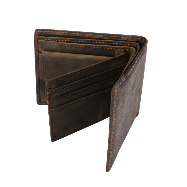 Crazy Horse Leather Wallet Men Leather Wallet short leather purse card holder