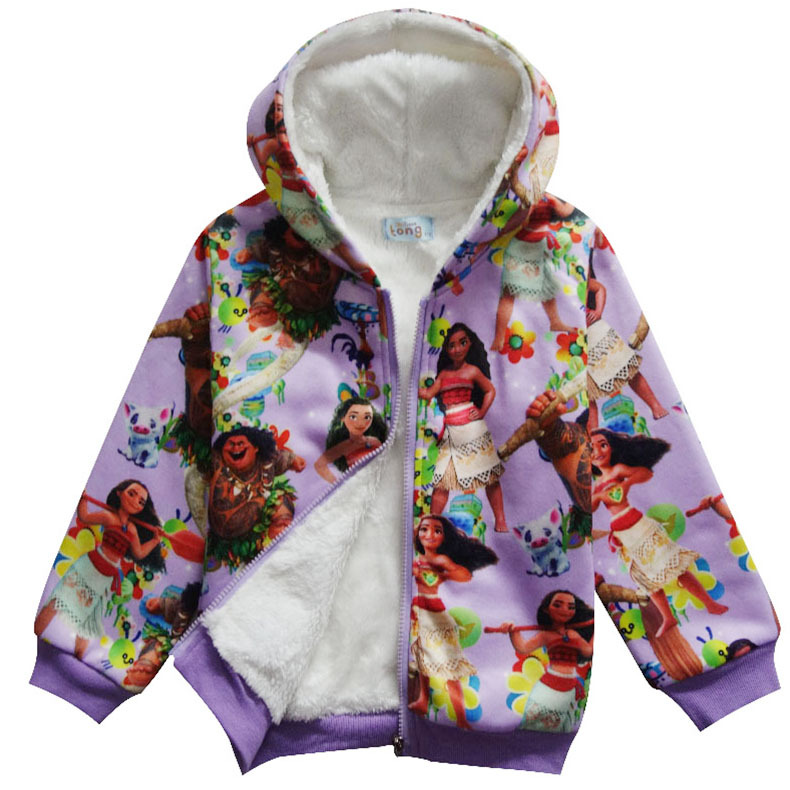 Disney Moana Zip-Up Hooded Fleece for Girls Multi