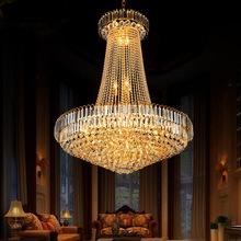 金色复式楼客厅大吊灯led欧式水晶吊灯别墅楼中楼楼梯长大吊灯具