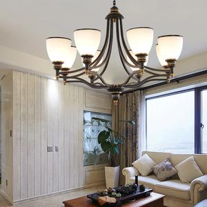 欧式吊灯简约客厅美式创意卧室灯铁艺灯 北欧餐厅复古LED吊灯