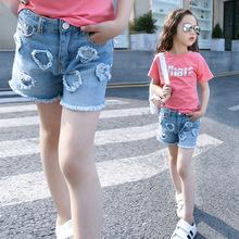 2018年夏款女童牛仔短裤牛仔热裤儿童宽松休闲牛仔短裤一件代发