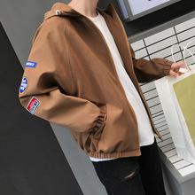 男式夹克17秋冬新款连帽纯色宽松休闲外套韩版青少年夹克衫男装潮