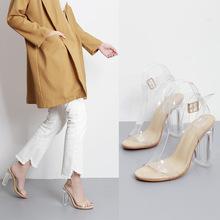 夏季时尚透明胶片女式欧美外贸粗跟高跟凉鞋女扣带批发40-42女鞋