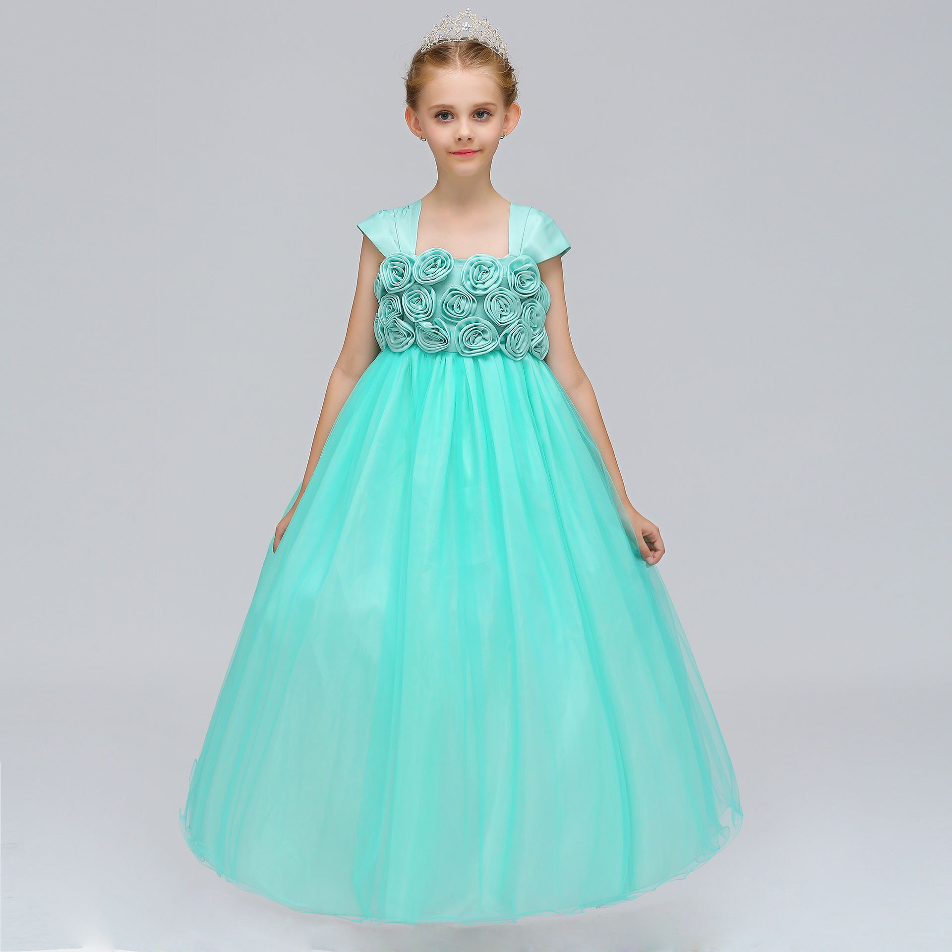 2018 girls wedding party dresses Three dimensional flower long dress ...