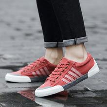 18新款春夏秋季帆布鞋男士韩版潮系带休闲学生复古帆布鞋