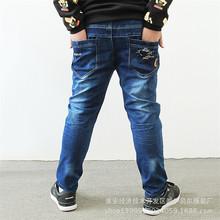 加肥加大男童牛仔长裤 2019年春季新款26-33码大胖男孩单裤 宽松