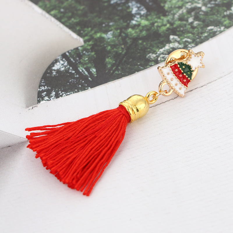 Korean version alloy plating brooch (Christmas tree red)NHGY0537-Christmas tree red