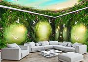 梦幻动物世界无缝墙纸 花卉3d电视墙大型壁画立体家装影视墙布