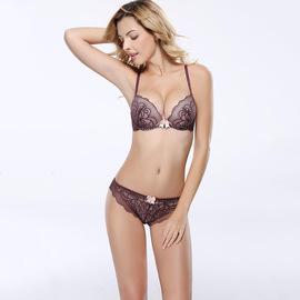 European and American original single new style gather sexy temptation lace adjustment bra suit lady has bra inside