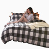 Japanese coral fleece. Four piece thick warm cashmere stripes Plaid Flannel bed quilt in winter
