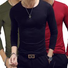 春秋新款男式t恤長袖圓領純色上衣打底衫韓版修身男裝T恤批發ebay