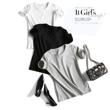 品质简约纯棉t恤女新款短袖圆领衫夏季精品女装织锦厂家批发