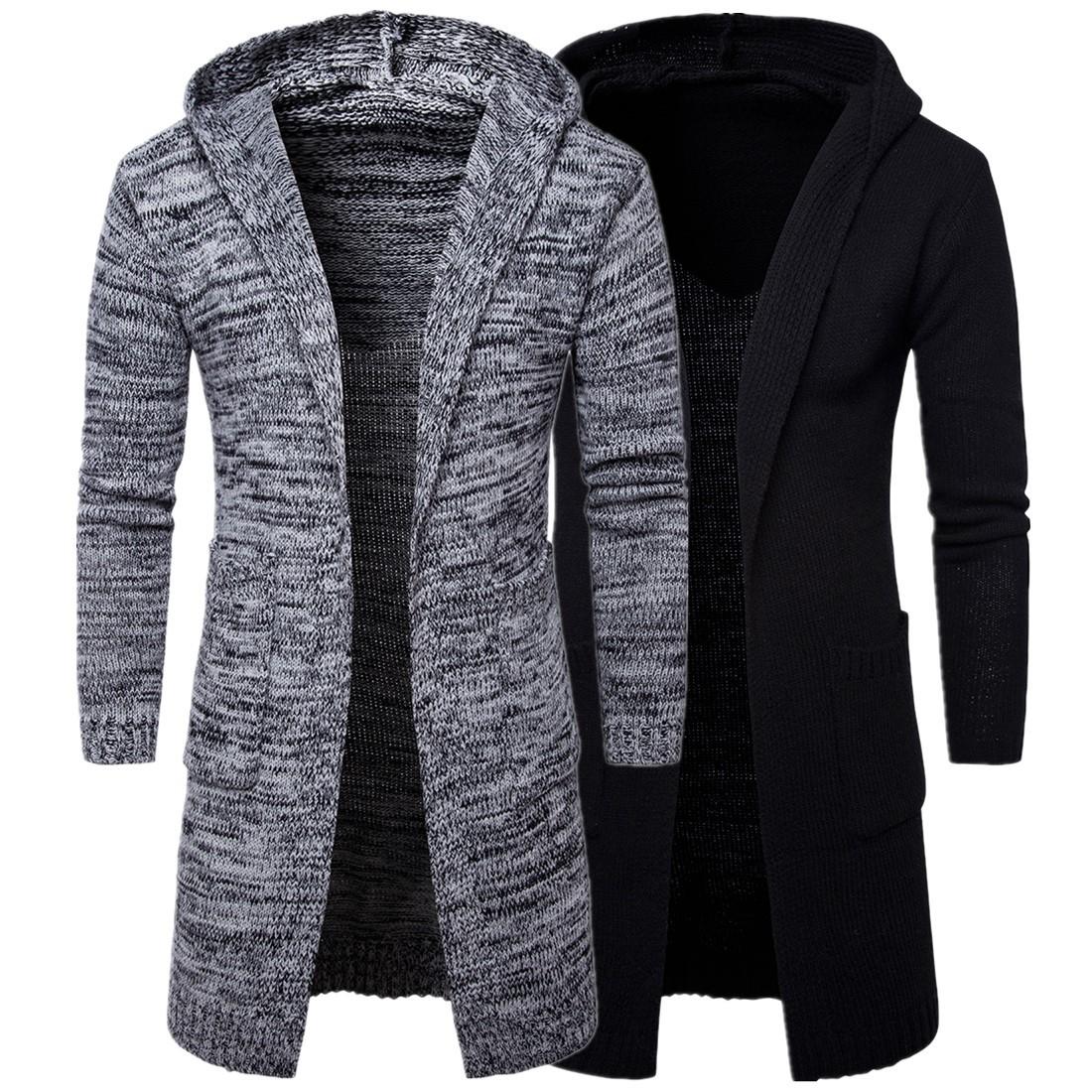 跨境電商新款男士連帽加厚開衫毛衣外套潮流歐美潮針織衫毛衣Y913