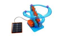 兒童益智DIY拼裝太陽能軌道滾珠玩具  旋轉滾珠爬樓梯玩具