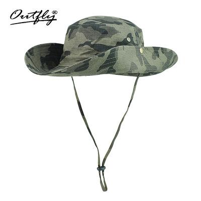 outfly迷彩大檐遮阳帽户外防晒渔夫帽防紫外线太阳帽钓鱼丛林帽子