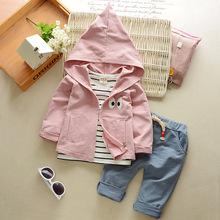 春款2017兒童長袖三件套 嬰幼兒童裝 新款純棉兒童套裝一件代發