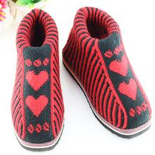 爱心毛线棉鞋冬女款手工毛线靴女式桃心毛线靴上海毛线鞋批发一件