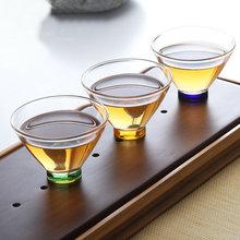 玻璃茶盏 主人杯单杯斗笠杯 手工日式茶碗彩色品杯耐热喝茶杯