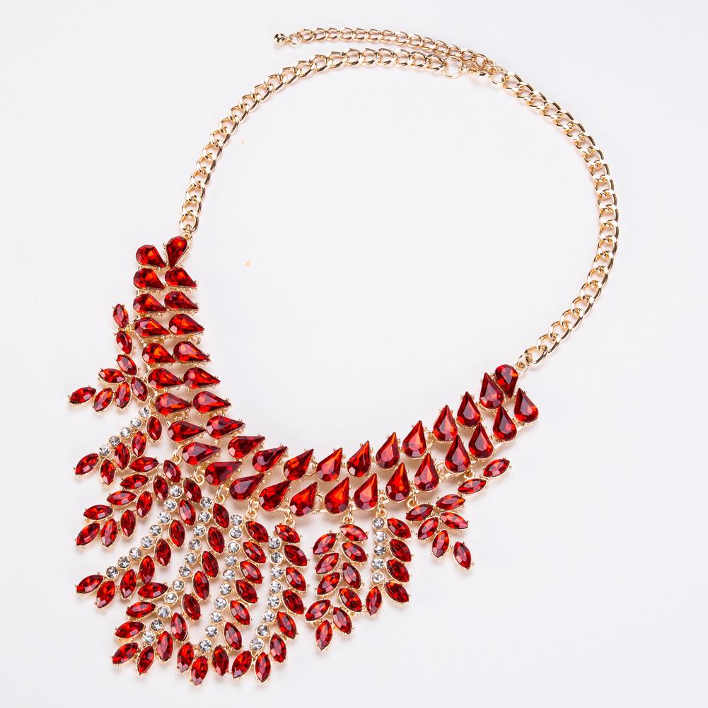 Fashion Alloy Rhinestone necklace Geometric (color)  NHJE0927-color