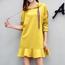 2017秋冬新款韩版大码女装连帽长袖中长款荷叶边卫衣连衣裙