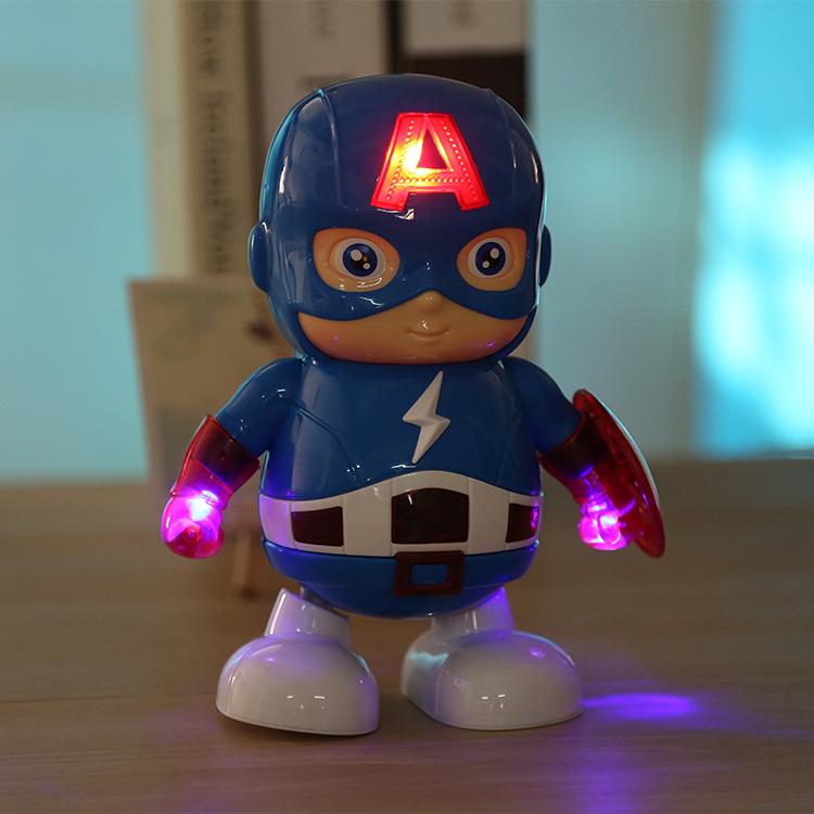超萌电动机器人卡通走路跳舞闪电队长灯光音乐卡通人物模型玩具