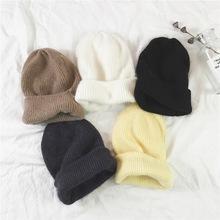 韩国纯色兔毛毛线帽子女春季百搭简约保暖针织套头帽学生护耳帽男