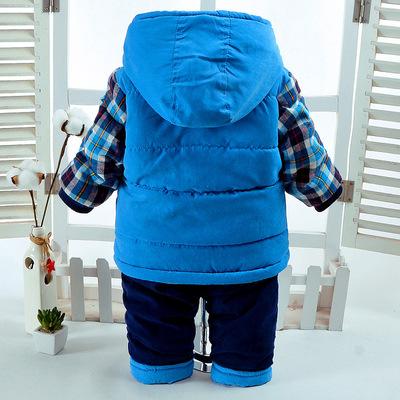 2018 mùa đông cậu bé phù hợp với 1-4 tuổi cậu bé bé cộng với nhung độn tay puppies hai bộ quần áo trẻ em ấm áp