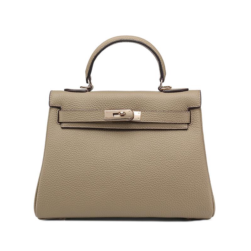 歐美時尚頭層牛皮凱莉包2019新款明星同款女包荔枝紋斜挎包手提包