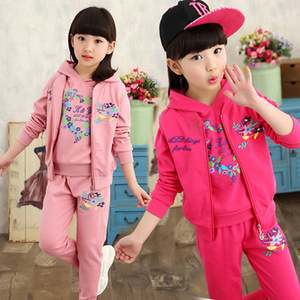 Girls 2017 spring and Autumn New Korean version, big child embroidery sets of three sets, manufacturers join the agent o