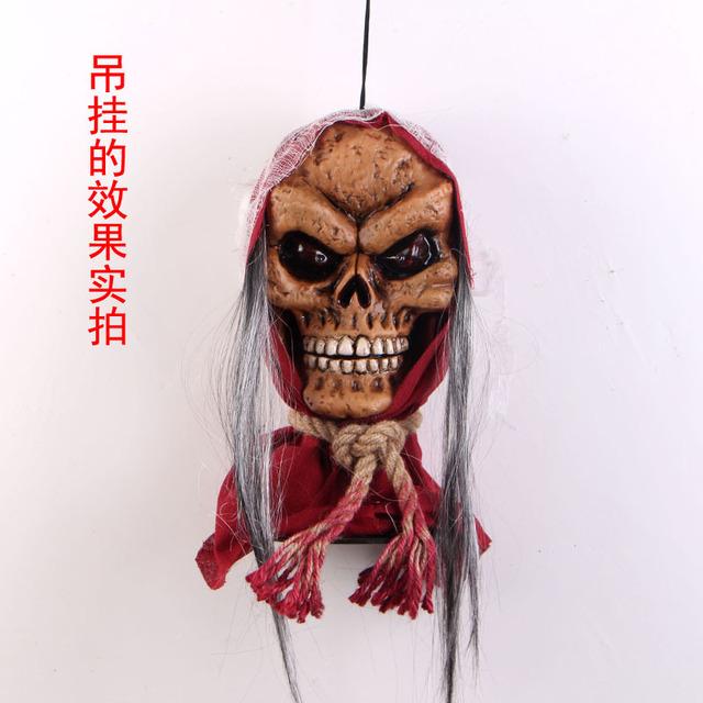 万圣节用品鬼节KTV派对场景装饰布置电动声控巫婆骷髅头道具批发
