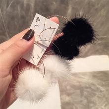 毛絨水貂毛白色毛球耳環毛毛球耳圈韓國大圓圈耳飾女秋冬飾品氣質