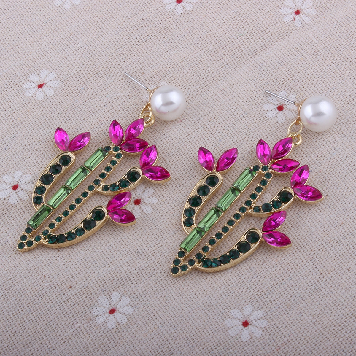 Korea style alloy Diamond earring (Pink)NHNMD3758-Pink