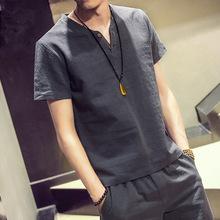 夏季热卖男士大码亚麻短袖t恤日系复古棉麻半袖上衣薄款麻料体恤