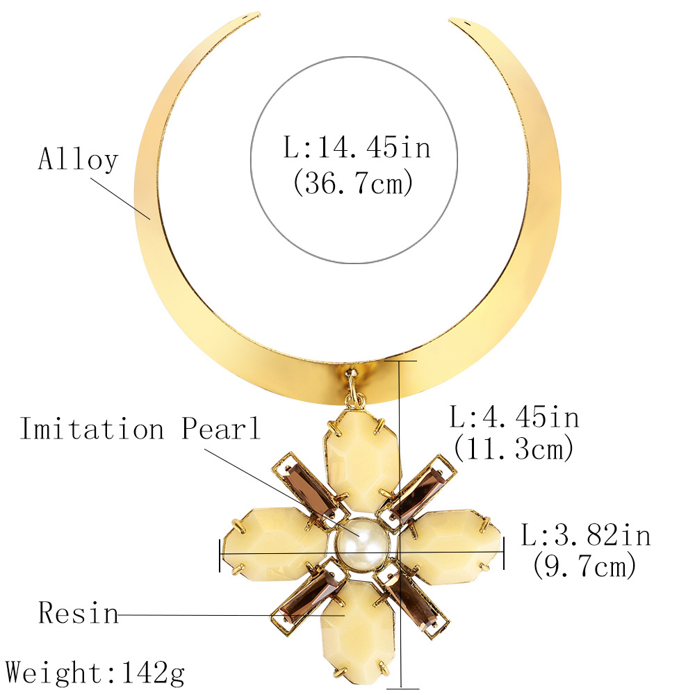 Exotic alloy plating necklace (yellow)NHJE0460-yellow