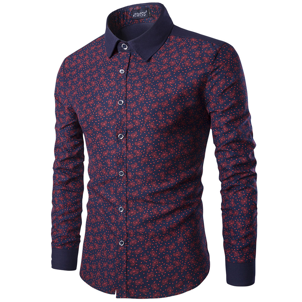 Foreign trade men's printed long sleeve slim shirt stitching contrast British Style Men's large thin shirt