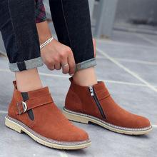 冬季中帮男士棉鞋休闲保暖棉靴 二层皮大码英伦男鞋厂家直销