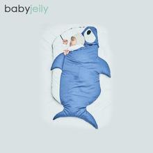 ins爆款 鲨鱼睡袋儿童睡袋 全棉多功能宝宝防踢抱被小丑鱼 秋冬