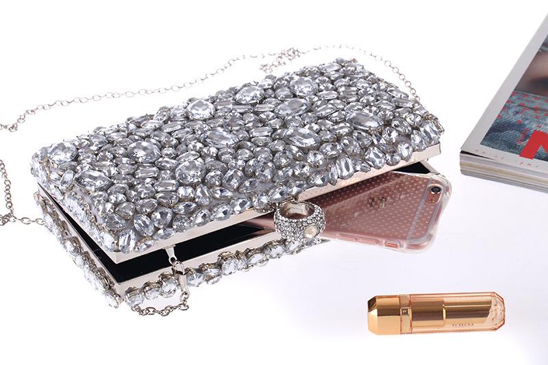 Style acrylic diamond chain women's clutch bag cross section square evening party handbag NHYG178975